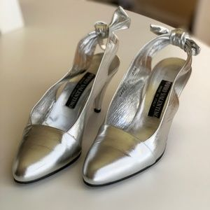 Vintage Metallic Silver Leather Slingback Heels